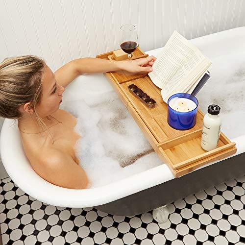 Bathtub Tray/Bathroom Caddy - Bath Table Accessories - Bamboo Trays for Tub - Bath Caddy/Bathtub Caddy/Bath Tray - 100% Bamboo Bath Tub Tray Caddy - Bath Tray For Tub - Slip Resistant Bath Tub Caddy