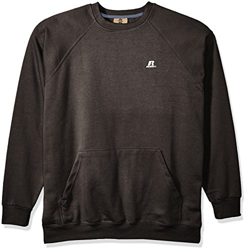 Russell Athletic Men's Big and Tall Fleece Pull Over with Pouch Pkt W/Lc r, Charcoal Heather, 2X