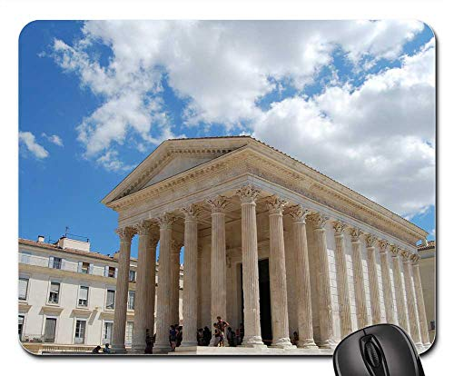 Mouse Pads - Nimes France Temple Greek Style Clouds Sky