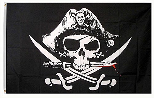 DANF Pirate Deadman's Chest Tricorner Flag Skull and Crossbones Jolly Roger 3 by 5 FT Polyester Flag ()