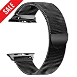 AGUARA Compatible with Apple Watch Band 38mm 42mm, Mesh Loop Stainless Steel Strap with Classic Buckle Replacement for iWatch Band for Series 3/2/1 Sport and Edition (X-Black, 38mm Magnetic)