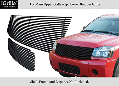 (APS Fits 2004-2007 Nissan Titan/Armada Black Stainless Steel Billet Grille Combo #N87816J)