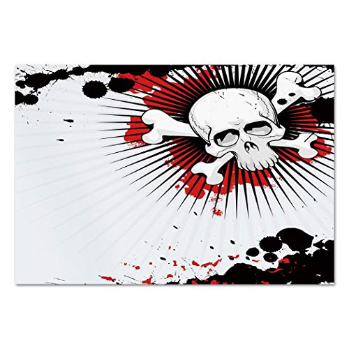 Large Wall Mural Sticker [ Halloween,Skull with Crossed Bones over Grunge Background Evil Scary Horror Graphic,Pearl Red Black ] Self-adhesive Vinyl Wallpaper / Removable Modern Decorating Wall Art -