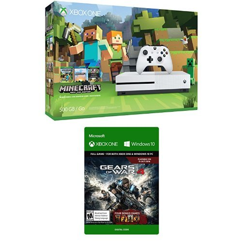 Xbox One S 500GB Minecraft Bundle and Gears of War 4 Standard Edition Digital