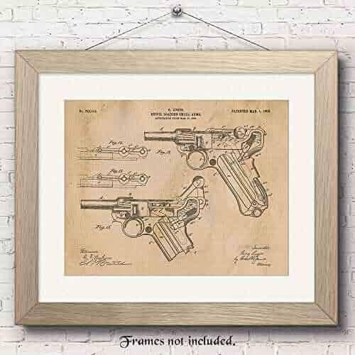 Original Luger Recoil Pistol Handgun Patent Art Poster Prints - 11x14 Unframed - Great Wall Art Decor Blueprints Gifts for Firearm Collectors, Gun Owners, Man Cave, Garage, Office, Big Boy's Room
