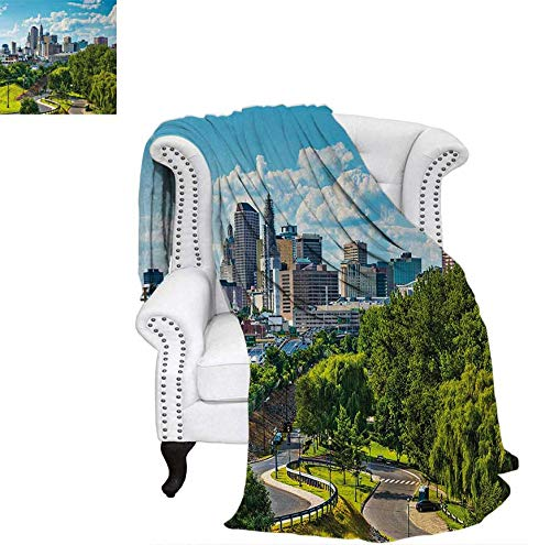 Hartford Quilt - Digital Printing Blanket Hartford Connecticut USA Downtown Cityscape Aerial View Modern Life Summer Quilt Comforter 80