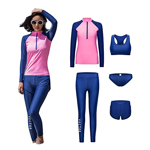 VECTOR 5Pcs Women Long Sleeve Wetsuit Swimsuit Shirt Printed Surfing Pants Diving Snorkeling Suits UPF 50+ UV Sun Protection (pink, ()