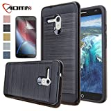 Alcatel One Touch Fierce XL Case, Aomax Hard Silicone Rubber Hybrid Armor Shockproof Protective Holster Cover Case With HD Screen Protector For Alcatel One Touch Fierce XL 5054 (VLS ARMOR Black)