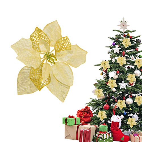 TopLAD(Pack of 12 Christmas Glitter Poinsettia Artificial Flowers Christmas Tree Ornaments Decorations (Gold)