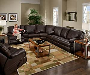 Visual Reclining Sectional In Living Room