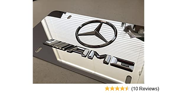 Ryomamoto Mercedes Benz AMG on Chrome Mirror Stainless Steel Front License Plate with screw caps