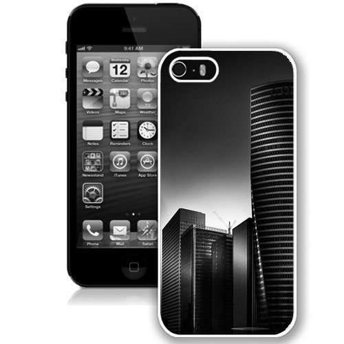 Coque,Fashion Coque iphone 5S Noir And blanc City Hd blanc Screen Cover Case Cover Fashion and Hot Sale Design