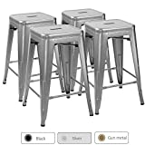 Furmax 24 High Backless Silver Metal Indoor-Outdoor Counter Height Stackable bar Stools(Set of 4), 4 Pack