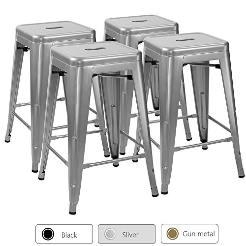 Furmax 24 Inches High Backless Silver Metal Indoor-Outdoor Counter Height Stackable bar Stools, 4 Pack
