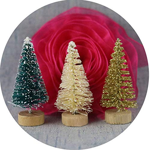 Mini Christmas Tree Snow Frost Small Pine Tree DIY Craft Desktop Decoration Christmas Ornaments,Whit