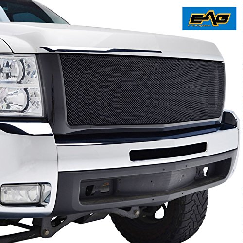 E-Autogrilles 07-10 Chevy Silverado 2500/3500 HD Black Stainless Steel Wire Mesh Grille Grill With Shell (Silverado 3500 Grille)