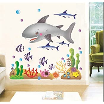 1 X Undersea Big Shark Babyu0027s Bedroom Wall Decal Ocean Fish Wall Decor For  Nursery Room