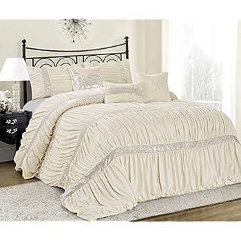 Amazon Com Lush Decor Belle Ivory Comforter Ruffled