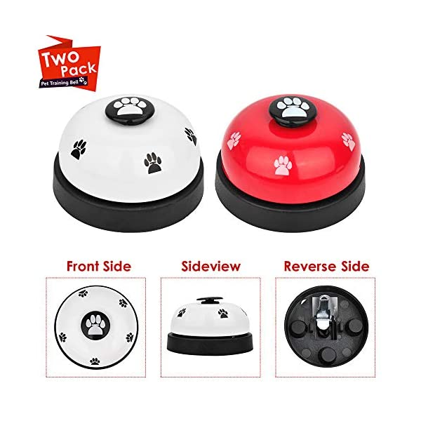 SlowTon Pet Doorbells, 2 Pack Metal Bell Dog Training with Non Skid Rubber Bottoms Puppy Door Bell for Potty Training and Communication Device with Clear Ring Paw Size Button for Small Doggie Cats 5