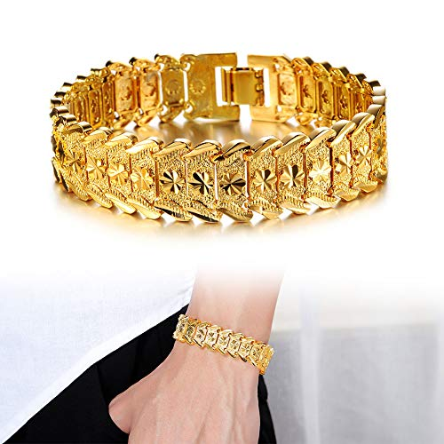 OPK Jewelry Men's Fashion 18k Yellow Gold Plated Link Bracelet Carving Bangle,8.26 Inch ()
