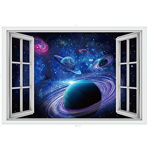 YINASI Removable Wall Stickers, 3D PVC Outer Space Planet Galactic Scene False Window Wall Decals for Kids Children Boys Room Bedroom Living Room Nursery School Classroom