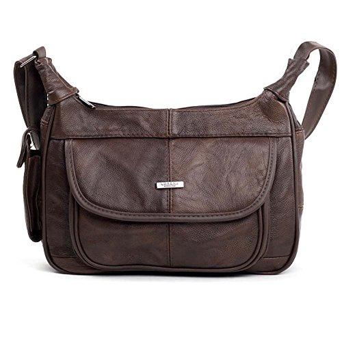 Damen Tasche Leder mit Handyfach. (schwarz/braun/Fawn/Rotbraun/Beige) Dunkelbraun