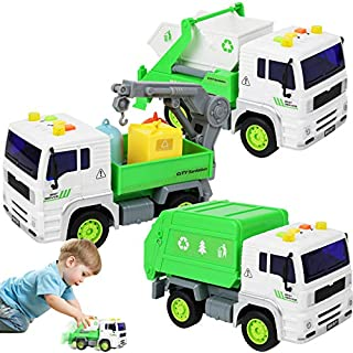 TeganPlay 3 Pack Friction Powered Garbage Truck Toys with Lights and Sounds Includes Waste Collection, Sanitation and Recycling Vehicles Cars for Boys Toddlers Girls