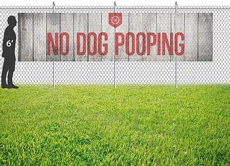 9x6 No Dog Pooping Classic Gold Wind-Resistant Outdoor Mesh Vinyl Banner CGSignLab
