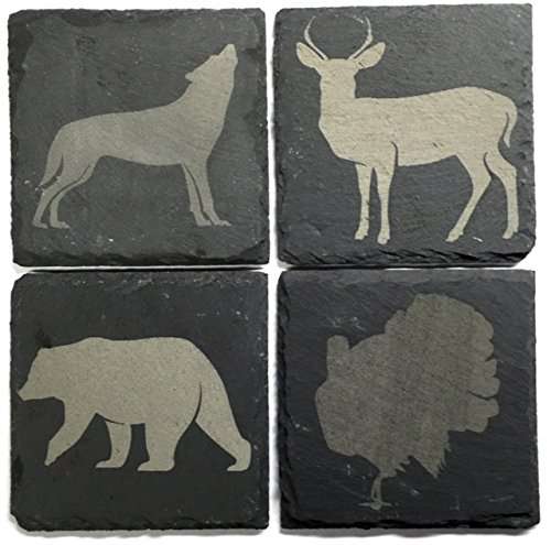 wild-life-natural-slate-coaster-collection-set-of-4deer-bear-turkey-and-wolf-laser-engraved