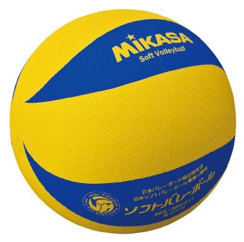 미카사 소프트 배구공 옐로우 블루 초등학교 소프트 발리볼 경기 공 5 ~ 6 학년 용 MS-M64H