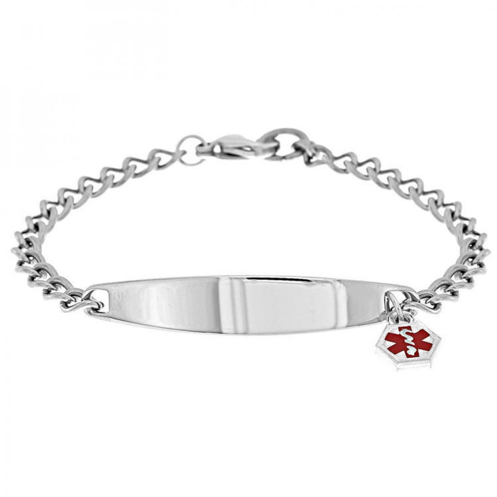 PicturesOnGold.com Stainless Steel Ladies Bracelet W/Charm - Stainless Steel 7 1/2