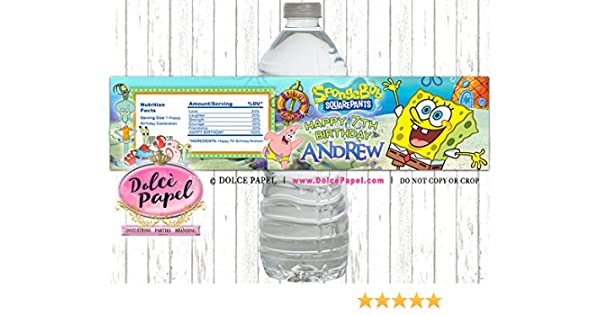 Amazon 10 Spongebob Squarepants Patrick Squidward Birthday Party Custom WATER BOTTLE LABELS Favors Any Age Handmade