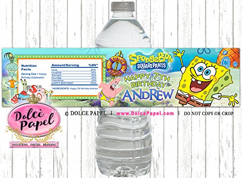 10 Spongebob Squarepants Patrick Squidward Birthday Party Custom WATER  BOTTLE LABELS Party Favors Any Age