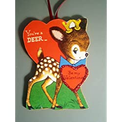 Sweet Deer Fawn Valentine Ornament Handcrafted Wood, Blue Bow School Penny Valentine, Animal Lover Gift, Love Note, Teacher Gift Bambi,