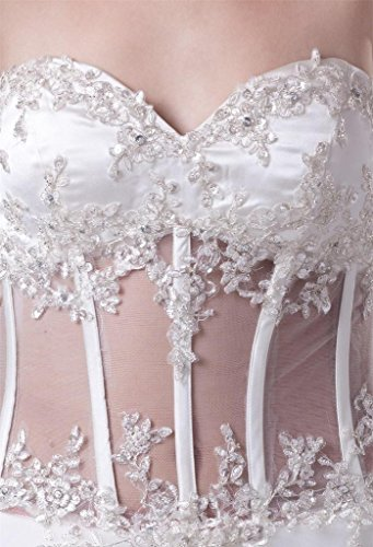 Appliques Dress Wedding line Lace Long Up Sweetheart A DZdress Women's White Bx5wzq84