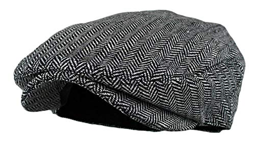 Wonderful Fashion Men's Classic Herringbone Tweed Wool, Grey, Size ()