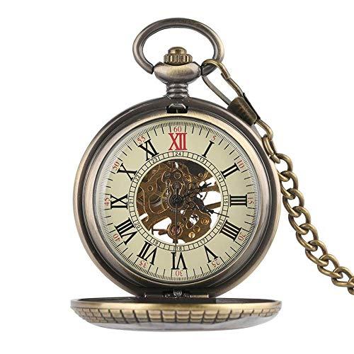 ZJZ fickur, trädesign mekanisk fickur, vintage utsökt hänge klocka ihålig hand slingrande klocka presenter