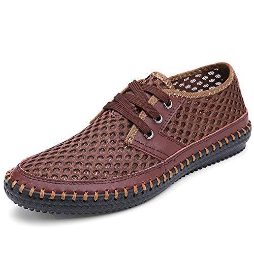 con tamaño Derby cómodo Qiusa Hollow Zapatos 40 Genuino Cuero de Respirables EU para tamaño Gran Cordones Hombres Color out de Rojo nAIwPq07I
