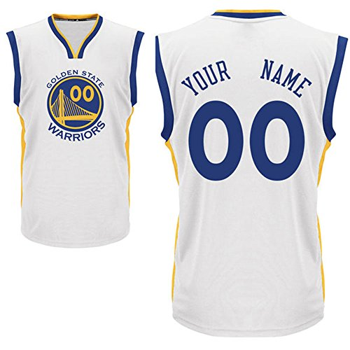 Men's Golden State Warriors White Custom Replica Basketball Jersey Your Name/Number Size M