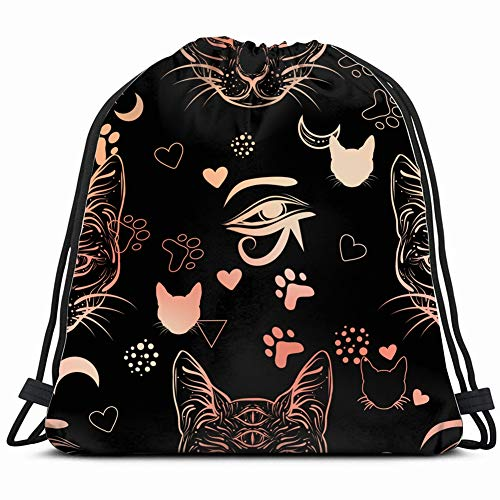 80 90 style pattern cat fashion beauty Special Backpack Sack Bag Gym Bag For Men & Women 17X14 Inch -