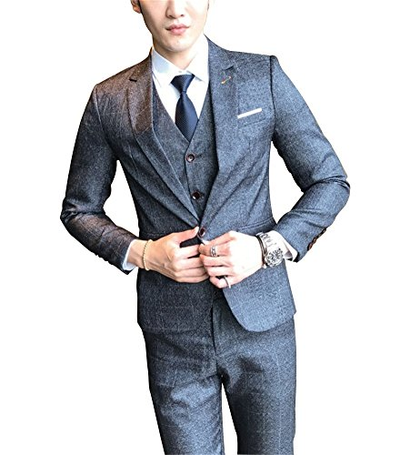 FOLOBE Mens 3-Piece Suit Single Breasted One Button Business Blazer Jacket, Grey by FOLOBE