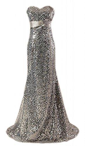 Fanciest Sequin Partykleid Ballkleid Meerjungfrau Damen Silver Abendkleider 2016 g4xq7gF