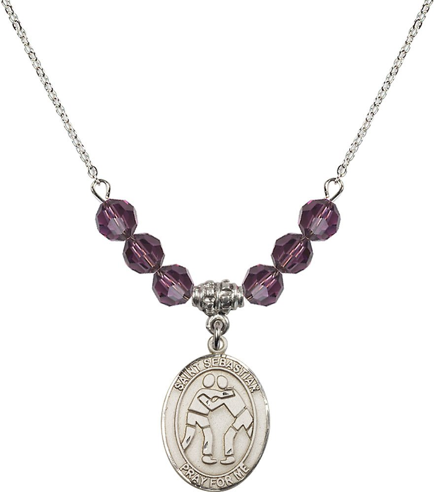 Rhodium Plated Necklace with 6mm Amethyst Birthstone Beads & Saint Sebastian/Wrestling Charm. by F A Dumont