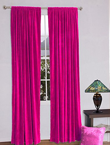 0%Thick Cotton Velvet lined Curtain ROD POCKET (54''w X 108''h, FUSCHIA) (108' Rod Pocket)