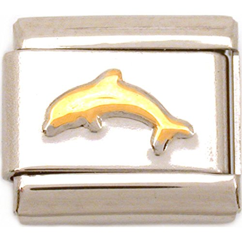 Dolphin 9mm Italian Charm - FindingKing Dolphin Italian Charm Gold Plated 9mm