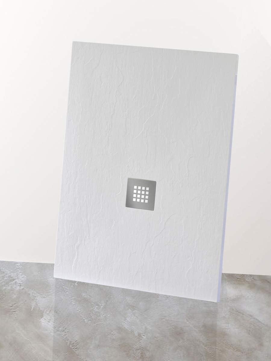 Yellowshop – Plato de ducha baño rectangular de mármol sintético, color blanco pizarra, varios tamaños; Medidas en cm: 70 x 90, 70 x 100, 80 x 100, 80 x 120, 80 x