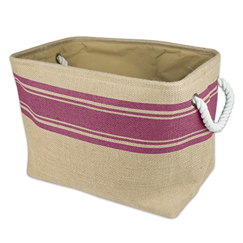 DII Collapsible Burlap Storage Basket or Bin with Durable Cotton Handles, Home Organizational Solution for Office, Bedroom, Closet, Toys, & Laundry (Large – 18x12x15