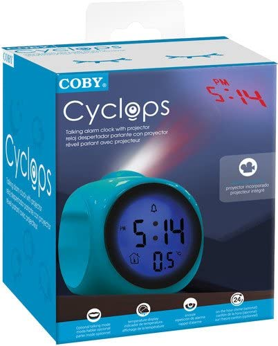 Coby CBC-54-BLU Talking Alarm Clock with Led Projector (Blue)