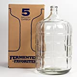 Fermenter's Favorites 5 Gallon Glass Carboy Fermenter for Home Brewing Beer, Wine Making, Hard Cider fermentation
