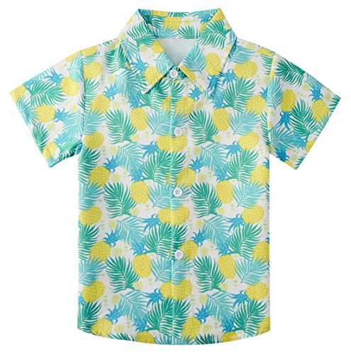 uideazone Little Boys Button Down Shirts Kids Shiny Modern Shirt Yellow Pineapple Short Sleeve Hawaiian Aloha Tops for Wedding/Cruise/Luau/Vacations (Size 3-4T)